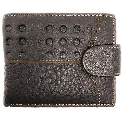 Western Mens Genuine Leather Bifold ID Credit Card Zip Round Dots Wallet