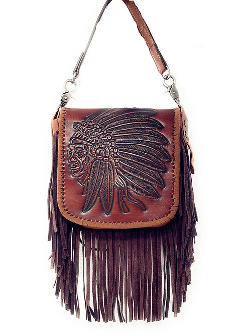 Western Genuine Leather Indian Head Cowgirl Crossbody Messenger Fringe Purse Bag