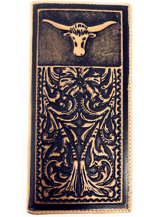 Genuine Leather Basketweave Floral Tooled Longhorn Mens Long Bifold Wallet