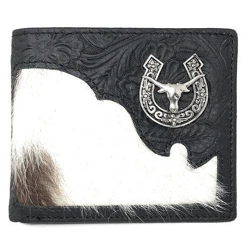 Western Genuine Tooled Leather Cowhide Cow Fur Longhorn Mens Bifold Short Wallet