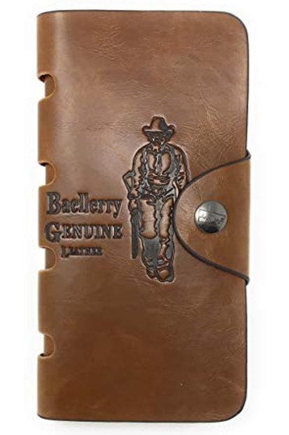 Baellerry Western Premium Genuine Leather Men's Bifold Long Wallet Cardholder