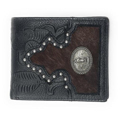 Western Genuine Tooled Leather Cowhide Virgin Mary Men's Bifold Short Wallet