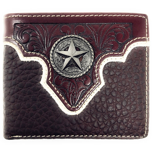 Western Genuine Leather Floral Tooled Texas Star Concho Mens Short Bifold Wallet
