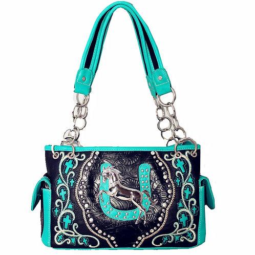 Premium Rhinestone Western Metal Horse Concealed Carry Shoulder Handbag