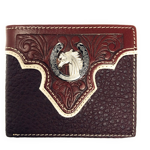 Western Genuine Leather Floral Tooled Horse Concho Mens Short Bifold Wallet