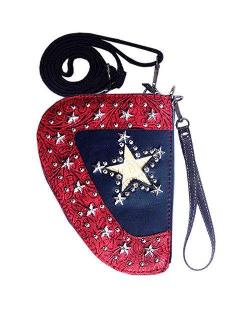Texas West Western American Flag Star Rhinestone Women Crossbody Pistol Bag