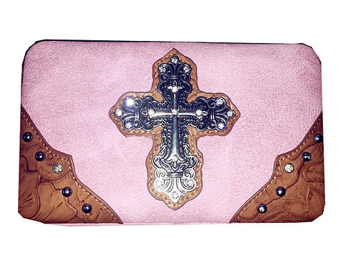 Rhinestone Metal Cross Womens Wallet in Pink With Extra Checkbook