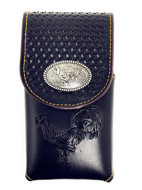 Western Cowboy Tooled Basketweave Leather Rooster Concho Belt Cellphone Case
