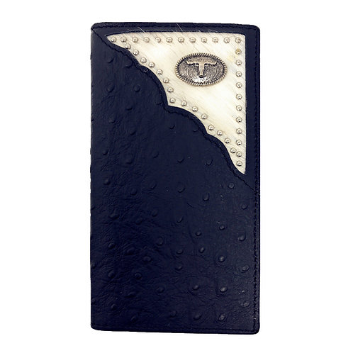 Western Mens Ostrich Genuine Leather Longhorn Long Cowhide Stud Bifold Wallet