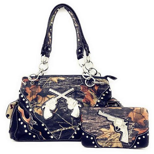 Camouflage Rhinestone Pistol Womens Handbag Purse and Matching Wallet