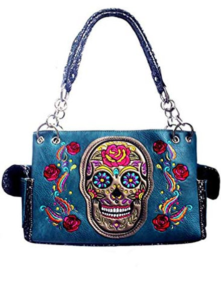 Western Women's Artistic Flora Embroidery Skull Concealed Carry Handbag in 3 Col