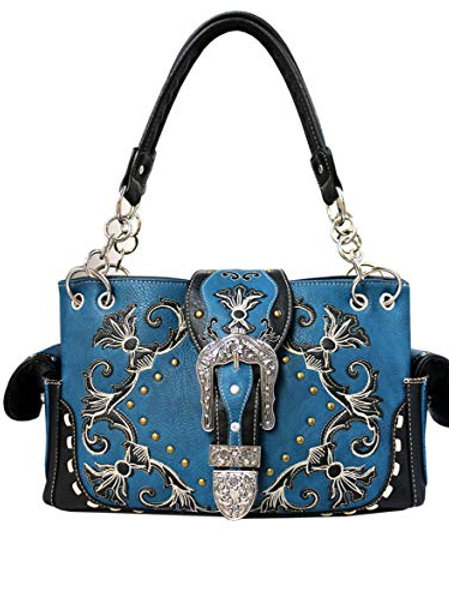 Western American Albino Style Flora Embroidery Buckle Concealed Carry Handbag