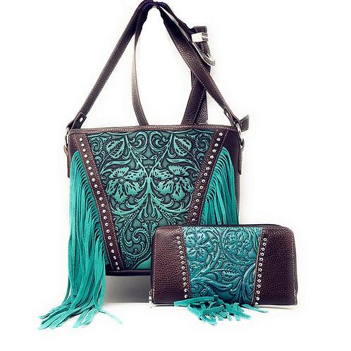 Concealed Carry Zip Top Shoulder Bag Tote Floral Tooled Genuuine Leather Set