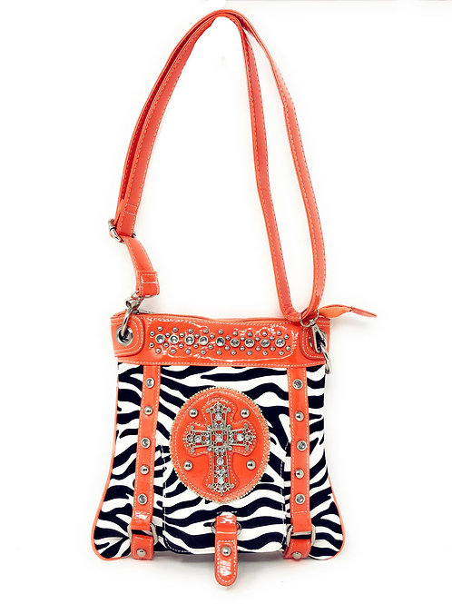 Zebra Print Rhinestone Cross Messenger Crossbody Bag In Multi Colors
