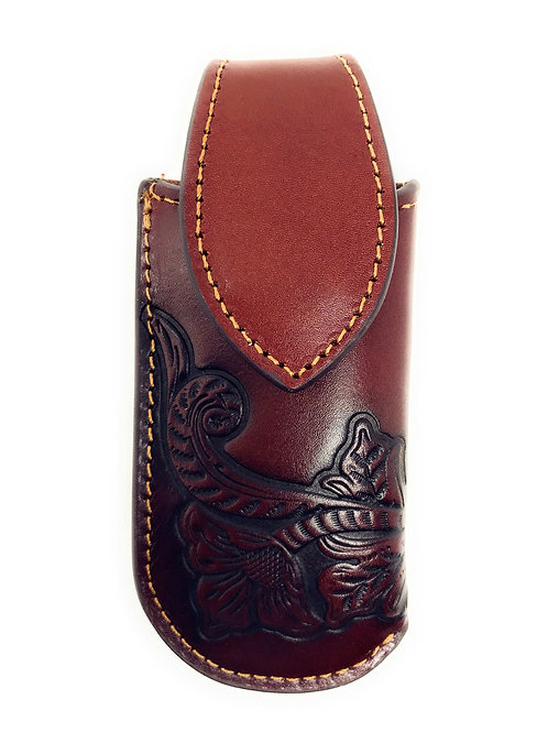 Western Geunine Leather Flora Embroidery Folding Knife Holster in Multi Size