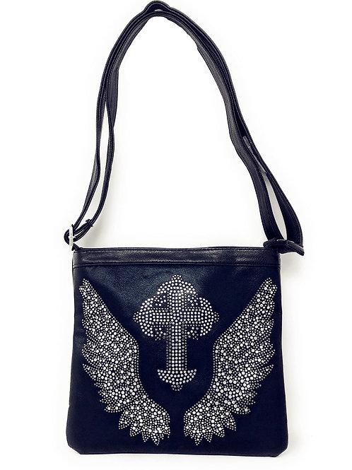 Rhinestone Cross Angel Wings Messenger Bag In Multi Colors