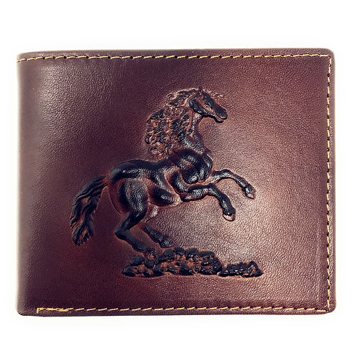 Western Genuine Leather Horse Plain Mens Bifold Short Wallet in 2 Color