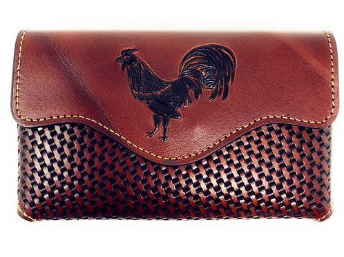 Western Cowboy Horizontal Basketweave Leather Rooster Cellphone Belt HolsterCase