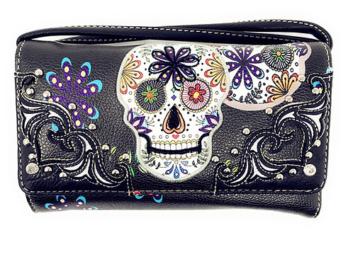 Western Rhinestone Flora Candy Skull Small Pouch Wallet for Women Crossboy