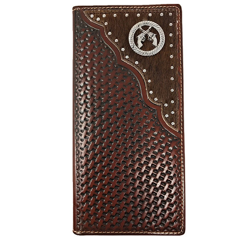 Premium Western Genuine Woven Leather Cow Fur Double Pistol Mens Bifold Wallet