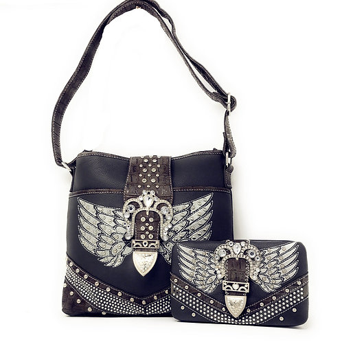 Premium Rhinestone Angel Wing With Buckle Messenger Bag and Matching Wallet