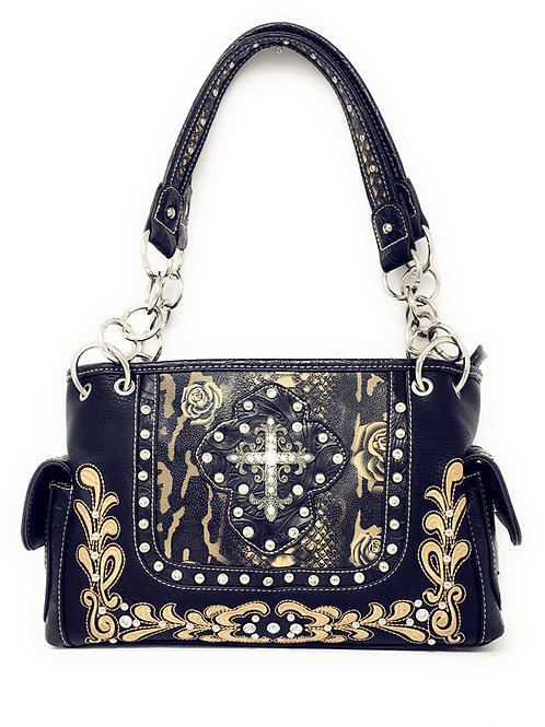 Rhinestone Cross Flowers Style Concealed Carry Womens Shoulder Handbag Purse