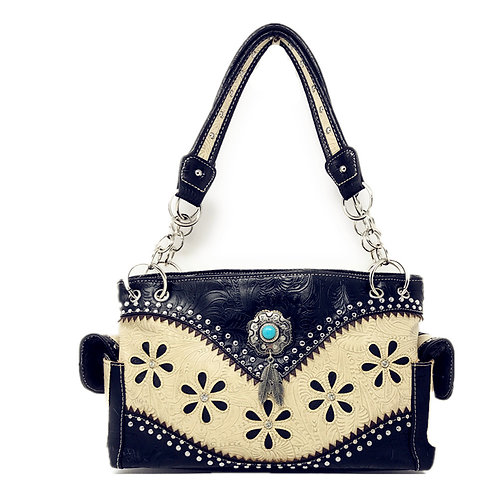 Tooled Leather Rhinestone Laser Cut Concealed Carry Feather Handbag Purse