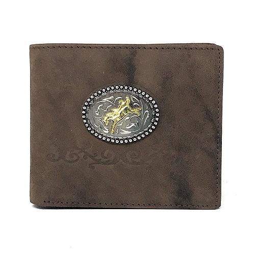 Western Suede Genuine Tooled Leather Men's Short Wallet in Multi Emblem