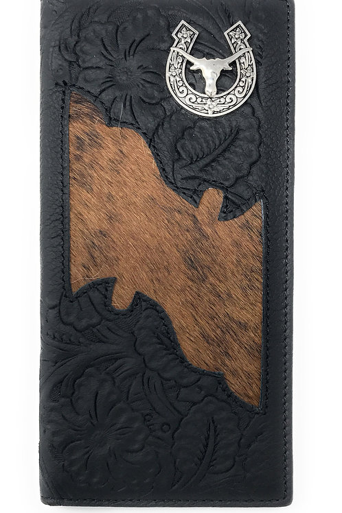 Premium Men's Cow Fur Cowhide Longhorn Genuine Leather Bifold Wallet in 2 colors