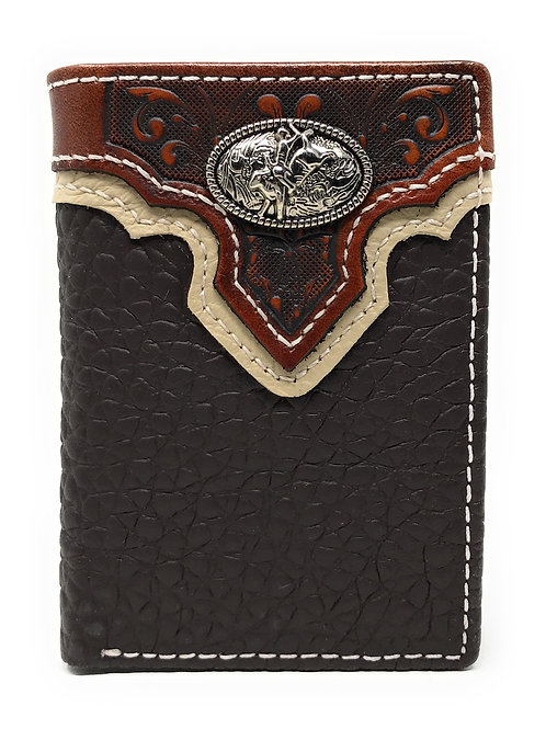 Western Tooled Genuine Leather Rodeo Men's Short Trifold Wallet in 2 colors