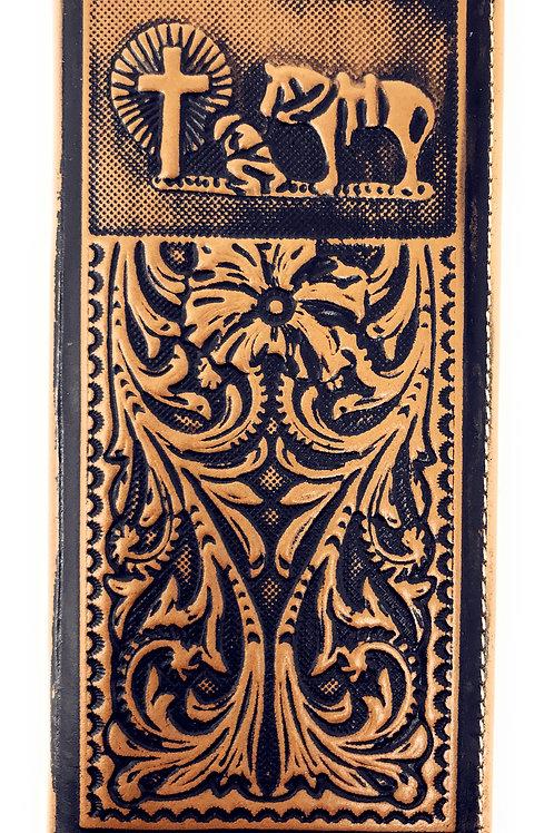 Genuine Leather Basketweave Floral Tooled Praying Cowboy Mens Long Bifold Wallet