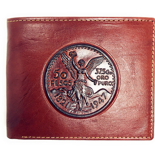 Western Genuine Leather 50 PESOS Plain Mens Bifold Short Wallet in 2 Color
