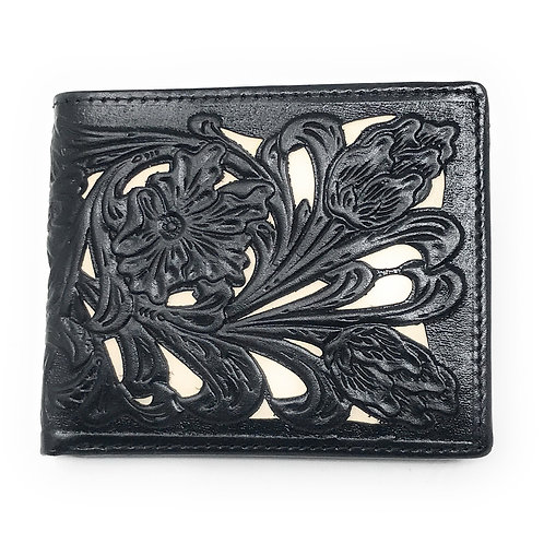 Western Genuine Tooled Leather Laser Cut Men's Bifold Short Wallet