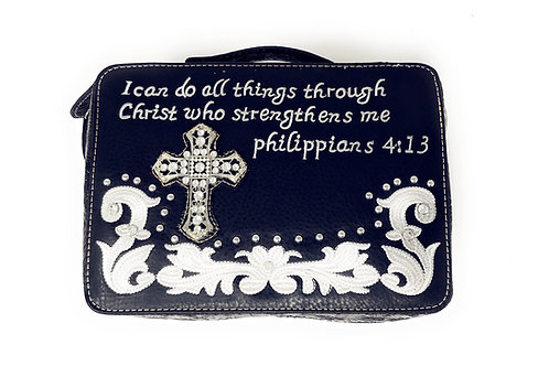 Wetsern Bible Cover Cross Embroidery Scripture Bible Verse Rhinestone Book Case