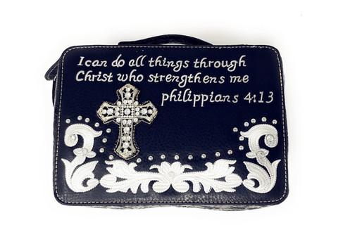 Wetsern Bible Cover Cross Embroidery Scripture Bible Verse Rhinestone Book  Case