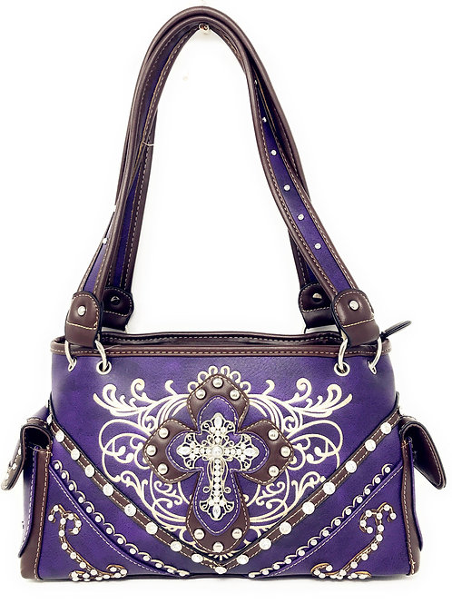 Premium Rhinestone Cross Western Embroidered Concealed Carry Handbag Purse