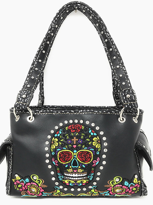 Rhinestone Embroidered Sugar Skull Concealed Carry Womens Handbag Purse