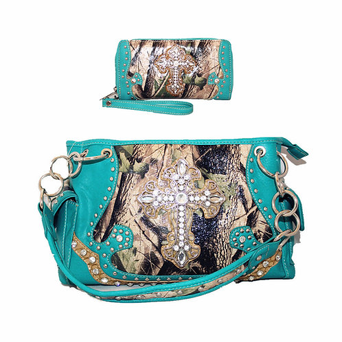 New Rhinestone Metal Cross Camou Cowgirl Concealed Carry Handbag and Wallet Set