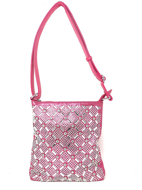 Rhinestone Studded Messenger Crossbody Bag In Multi Colors
