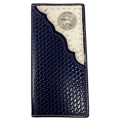 Premium Western Genuine Woven Leather Cow Fur Star Mens Bifold Wallet