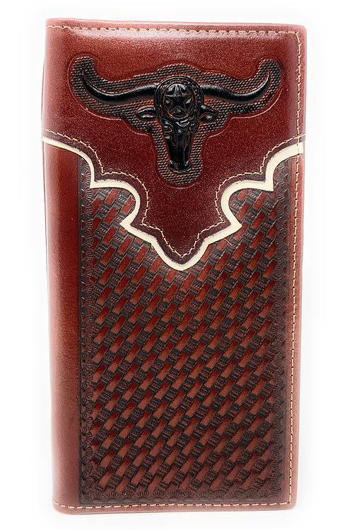 Western Genuine Leather Basketweave Longhorn Metal Concho Mens Bifold Wallet