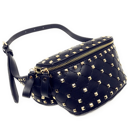 Texas West Rivets Waist Bag PU Leather Chest Pack Fanny Pack Bag In Multi Color