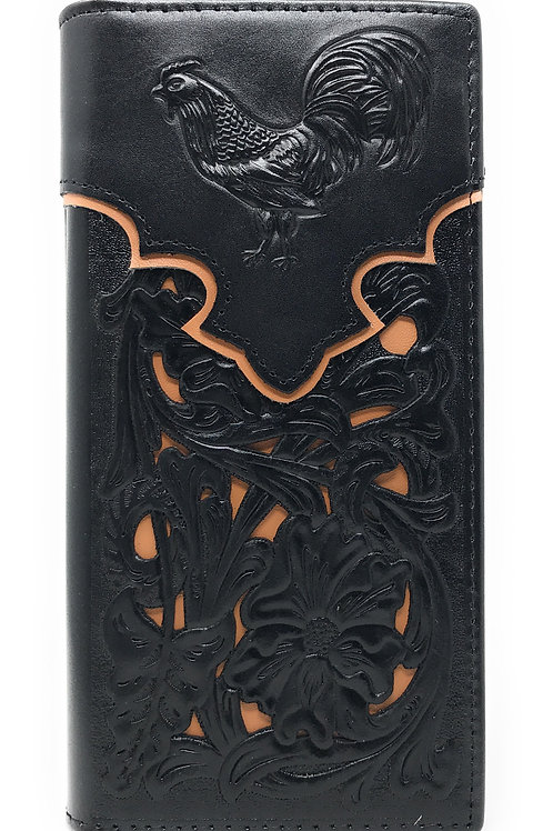 Western Genuine Leather Rooster Tooled Laser Cut Men's Long Bifold Wallet