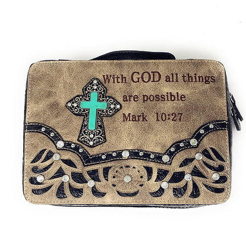 Bible Cover Cutout Embroidered Scripture Verse Rhinestone Agate Cross Book Case