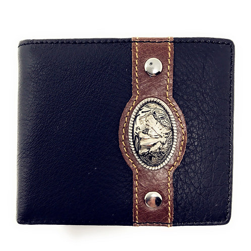 Western Genuine Leather Mens Metal Concho Horse Head Bifold Short Wallet