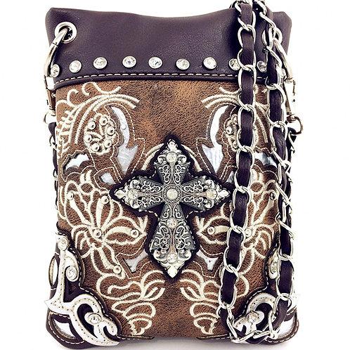 Premium Rhinestone Cross Embroidery Conceal Carry Messenger Bag/Mini Messenger