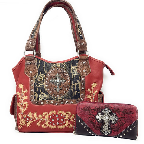 Rhinestone Concealed Carry Cross Flower Leather Shoulder Handbag Purse /Wallet