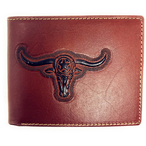 Western Genuine Leather Longhorn Plain Mens Bifold Short Wallet in 2 Color