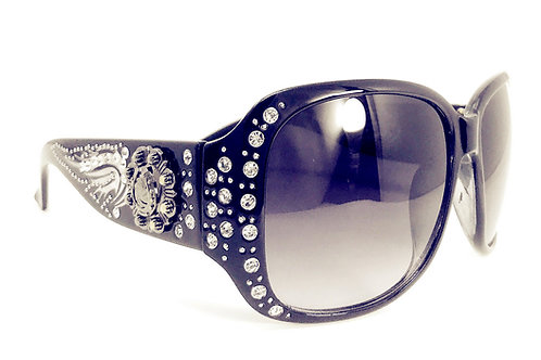 Womens Sunglasses With Rhinestone Metal Spurs And Wing UV 400 Lens
