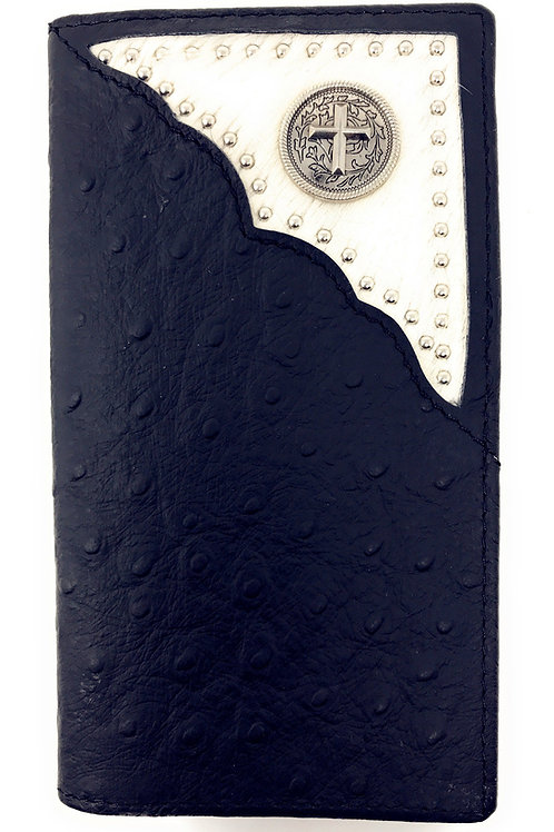 Western Mens Ostrich Genuine Leather Long Cowhide Stud Bifold Wallet